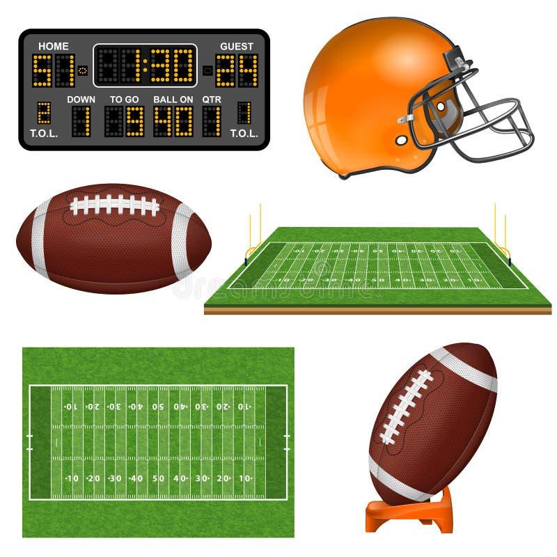 Ícones realísticos do futebol americano ilustração stock