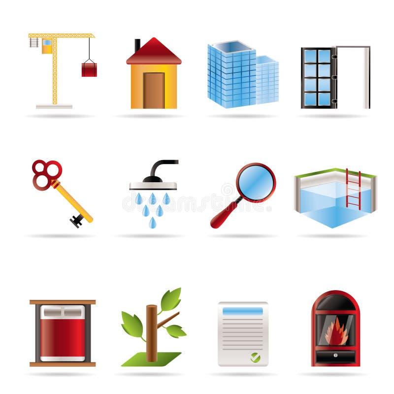 Ícones realísticos dos bens imobiliários ilustração stock