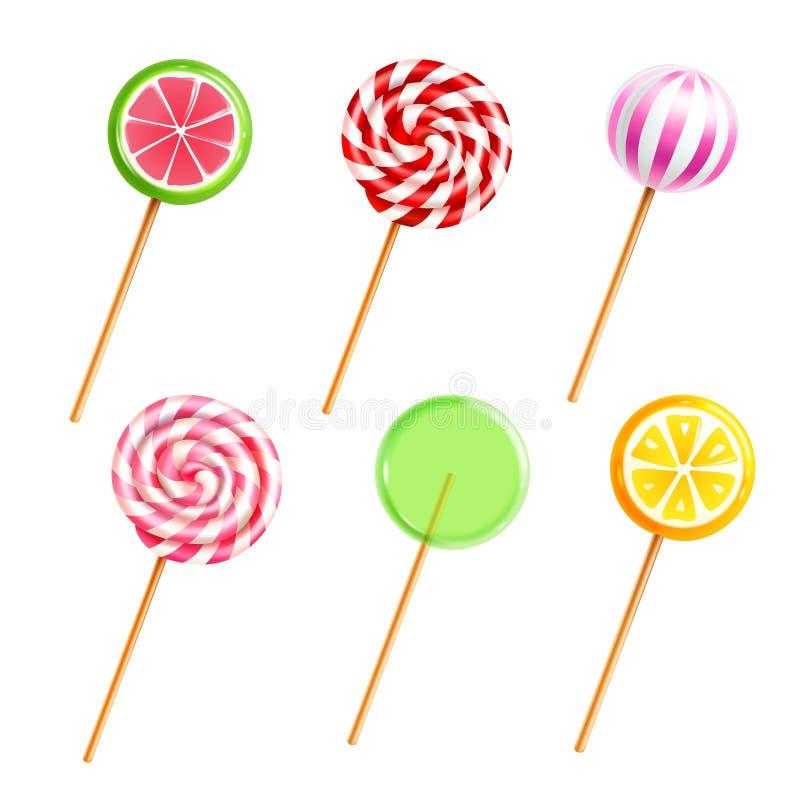 Ícones realísticos dos doces dos pirulitos dos doces ajustados ilustração do vetor