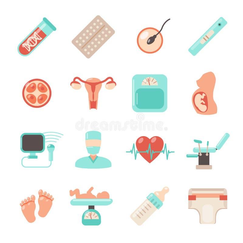 Ícones recém-nascidos da gravidez ilustração do vetor