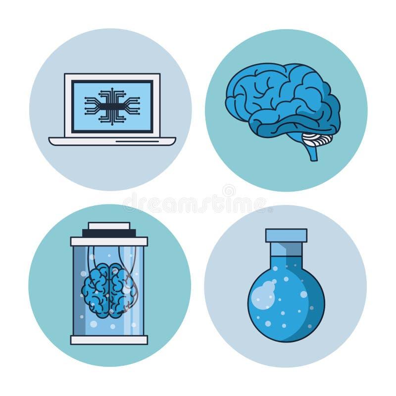 Ícones redondos da inteligência artificial ilustração stock