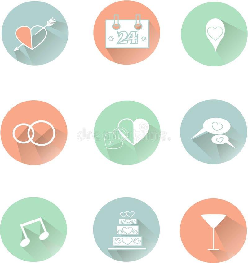 Ícones redondos do casamento, linhas brancas finas no rosa pastel, azul, verde, cores frescas, sombra ilustração do vetor