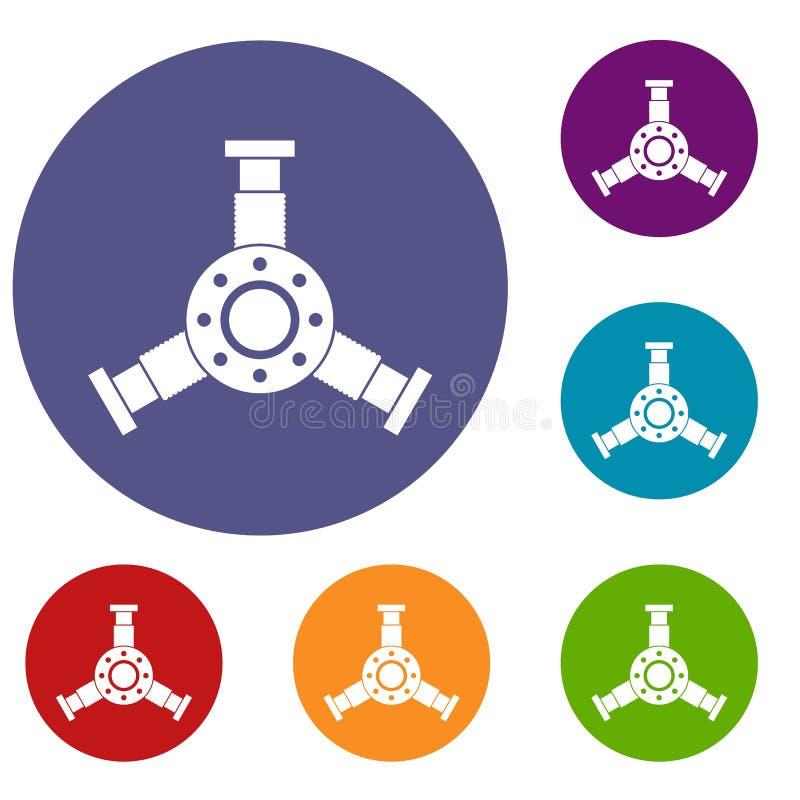 Ícones redondos do detalhe do mecânico ajustados ilustração do vetor