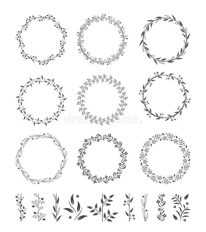 Ícones redondos do vetor das grinaldas ilustração royalty free