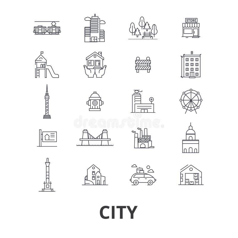 Ícones relacionados da cidade ilustração royalty free