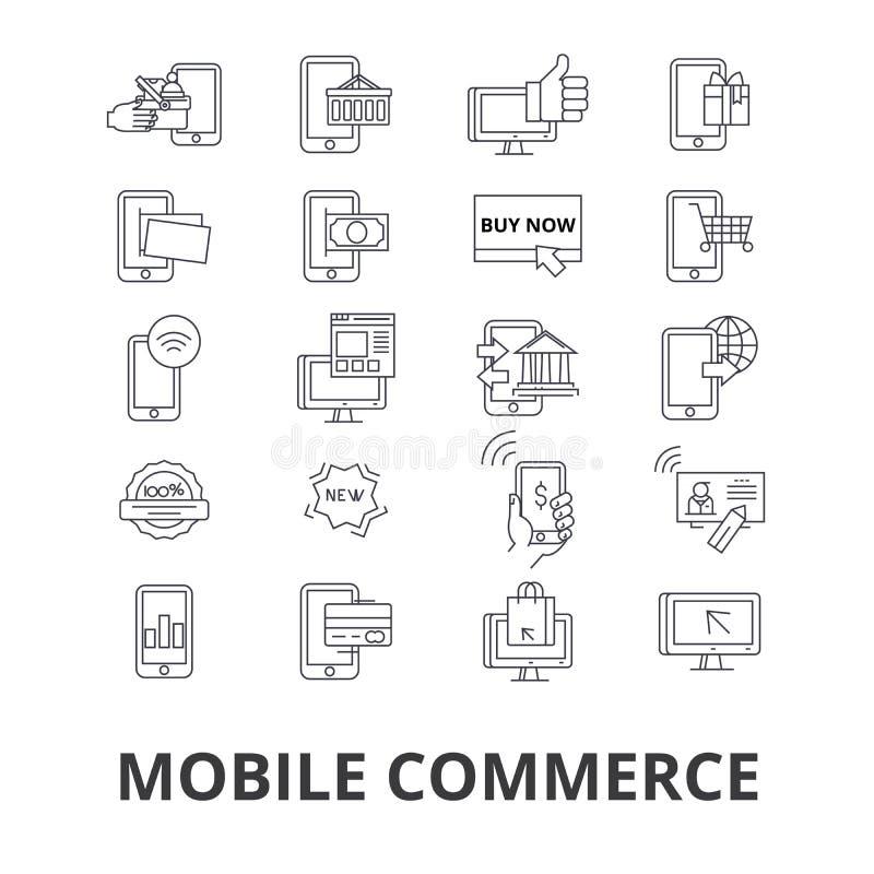 Ícones relacionados do comércio móvel ilustração do vetor