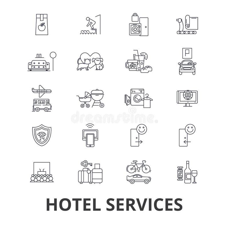 Ícones relacionados dos serviços de hotel ilustração do vetor
