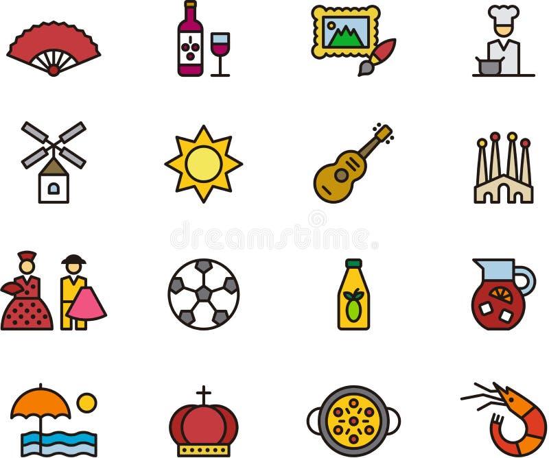 Ícones relativos à Espanha ilustração do vetor