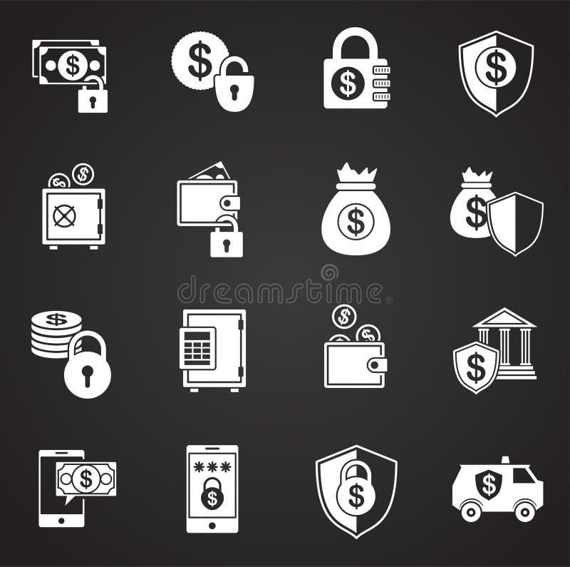Ícones relativos à segurança do dinheiro ajustados no fundo para o gráfico e o design web Ilustra??o simples S?mbolo do conceito  ilustração royalty free
