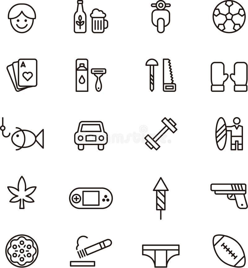 Ícones relativos aos meninos e aos homens ilustração stock