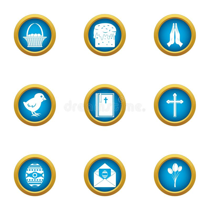 Ícones religiosos ajustados, estilo liso do signage ilustração do vetor