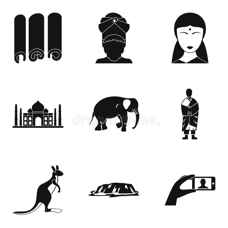 Ícones religiosos ajustados, estilo simples da viagem ilustração do vetor