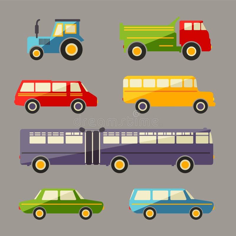 Ícones retros do carro liso do vetor ajustados ilustração royalty free