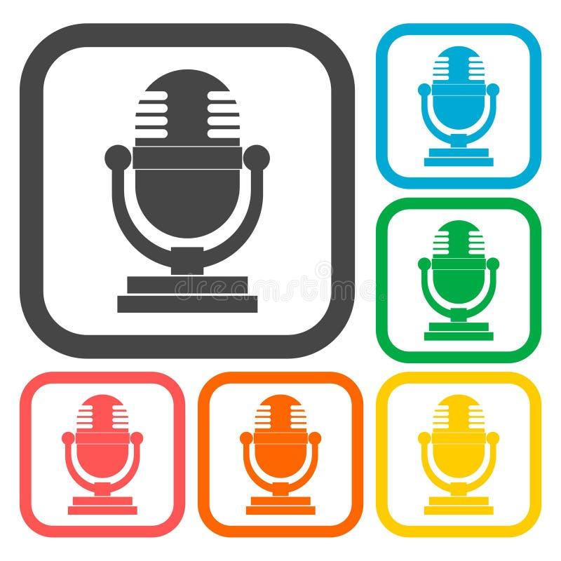 Ícones retros do microfone ajustados ilustração royalty free
