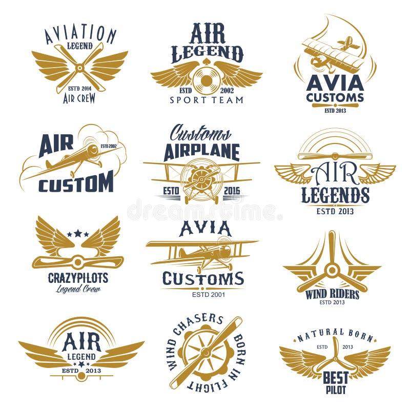 Ícones retros do vetor da equipe da legenda do avião da aviação ilustração do vetor