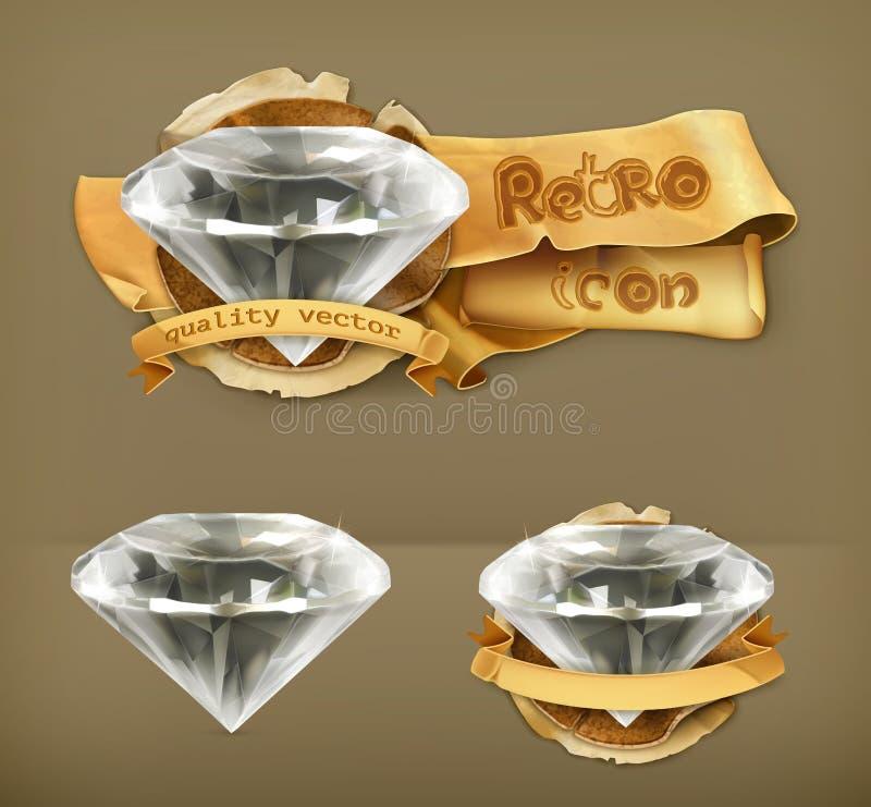 Ícones retros do vetor dos diamantes ilustração royalty free