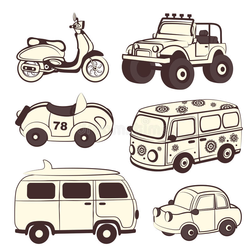 Ícones retros dos carros ajustados ilustração do vetor