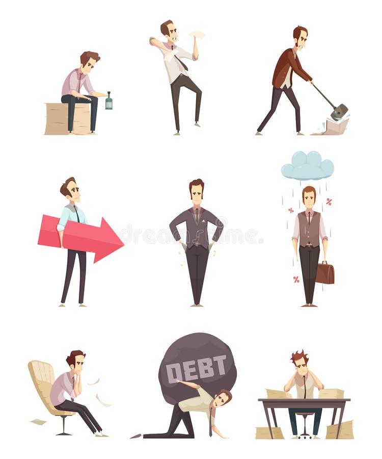 Ícones retros dos desenhos animados da falha de negócio ilustração stock