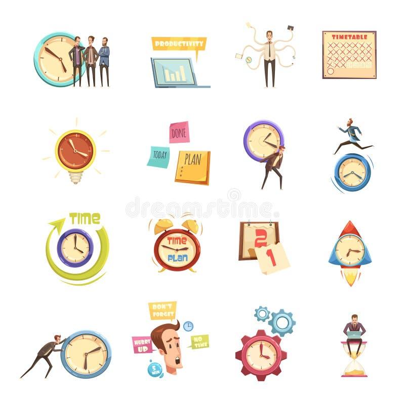 Ícones retros dos desenhos animados da gestão de tempo ajustados ilustração stock