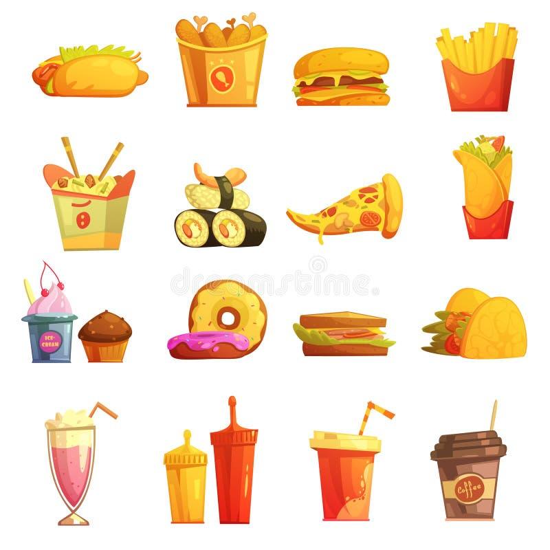 Ícones retros dos desenhos animados do fast food ajustados ilustração stock