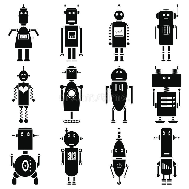 Ícones retros dos robôs do vintage ajustados em preto e branco ilustração do vetor