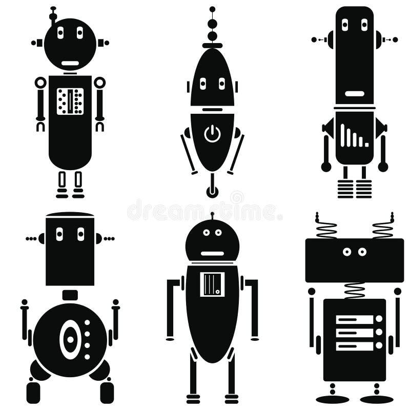 Ícones retros dos robôs do vintage ajustados em um grupo preto e branco de 6 (ajuste B) ilustração do vetor