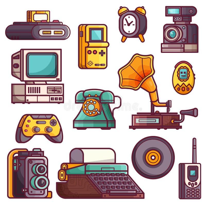 Ícones retros e do vintage da tecnologia dos dispositivos ilustração royalty free