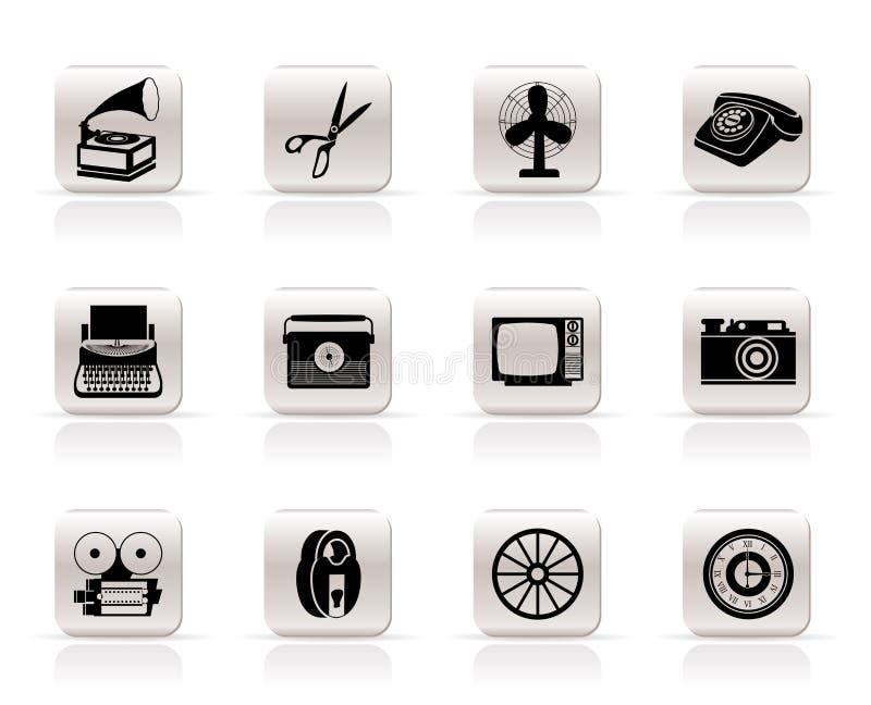 Ícones retros simples do objeto do negócio e do escritório ilustração do vetor