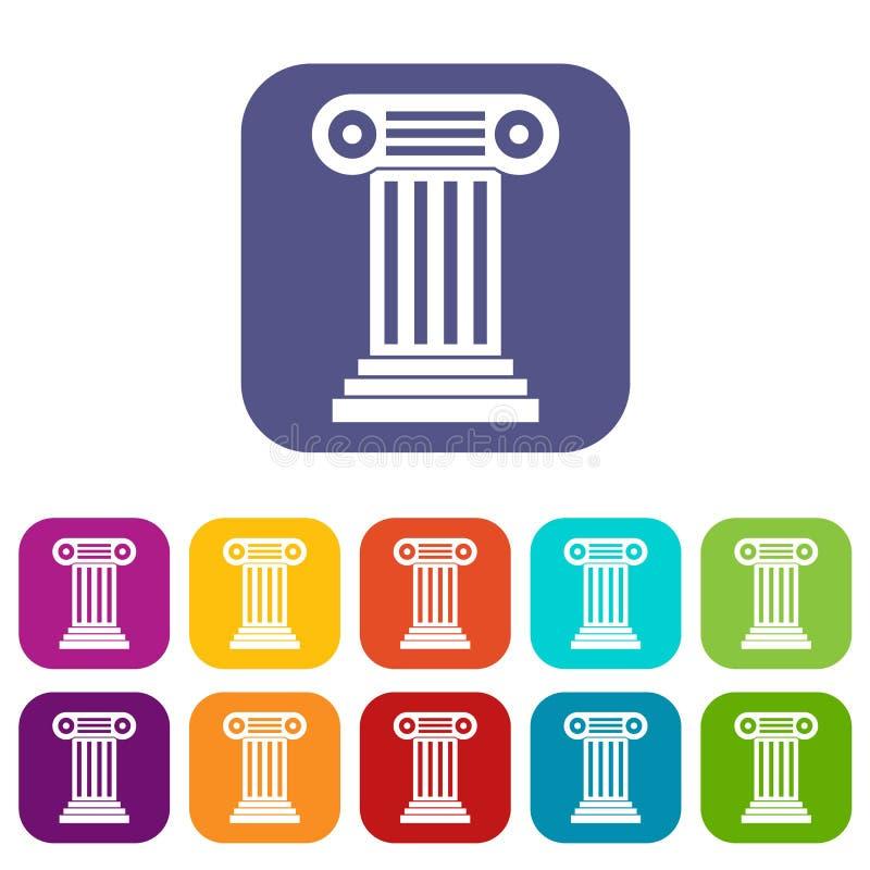 Ícones romanos da coluna ajustados ilustração do vetor