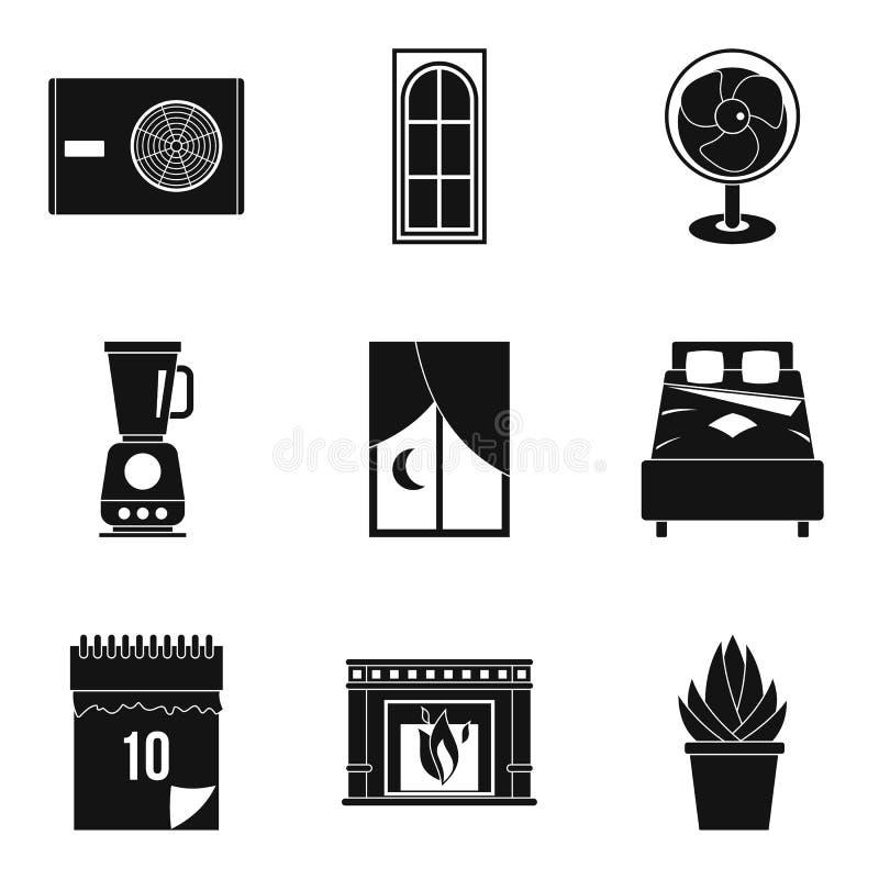 Ícones rotineiros ajustados, estilo simples do trabalho ilustração royalty free