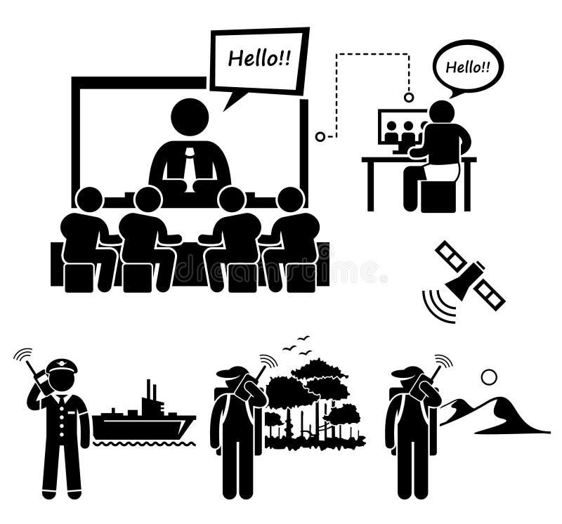 Ícones satélites de Cliparts do telefone da videoconferência do negócio ilustração do vetor