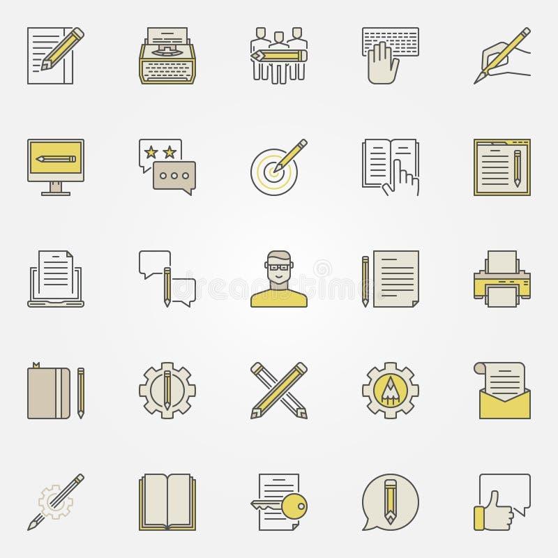 Ícones satisfeitos da escrita ilustração royalty free
