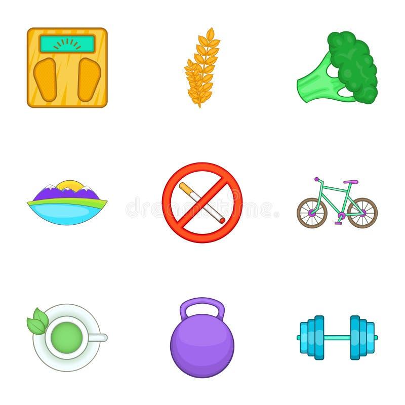 Download Ícones Saudáveis Ajustados, Estilo Do Estilo De Vida Dos Desenhos Animados Ilustração do Vetor - Ilustração de corpo, equipamento: 80100658