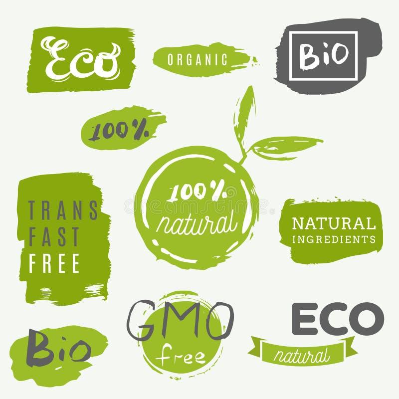 Ícones saudáveis do alimento, etiquetas Tag orgânicos Elemen do produto natural ilustração stock