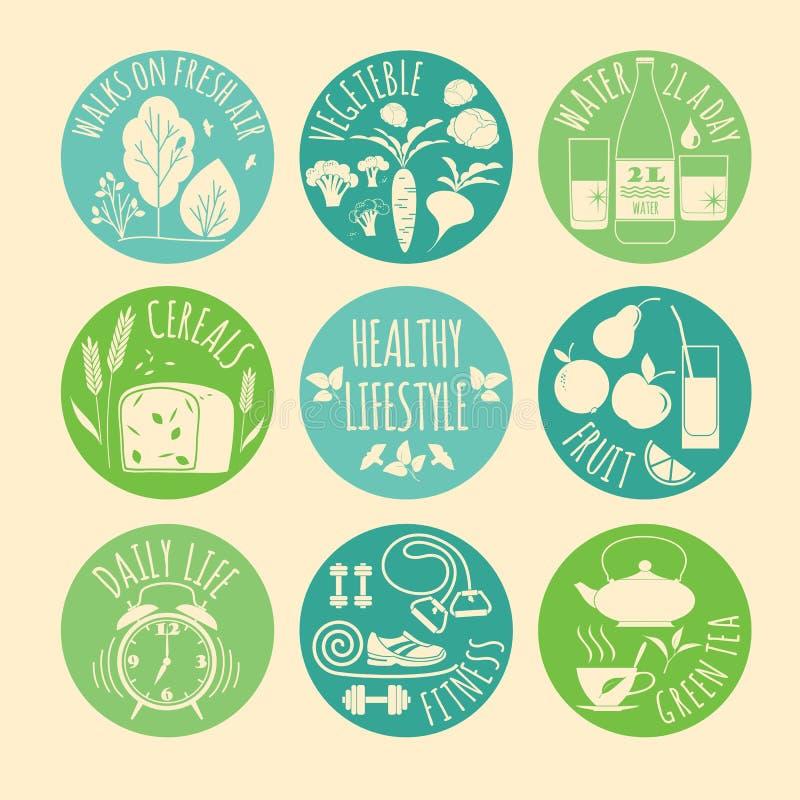 Ícones saudáveis do estilo de vida ajustados ilustração do vetor