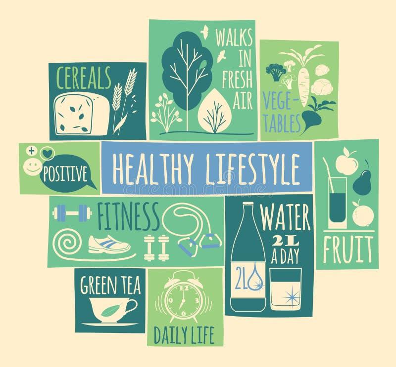 Ícones saudáveis do estilo de vida ajustados fotografia de stock