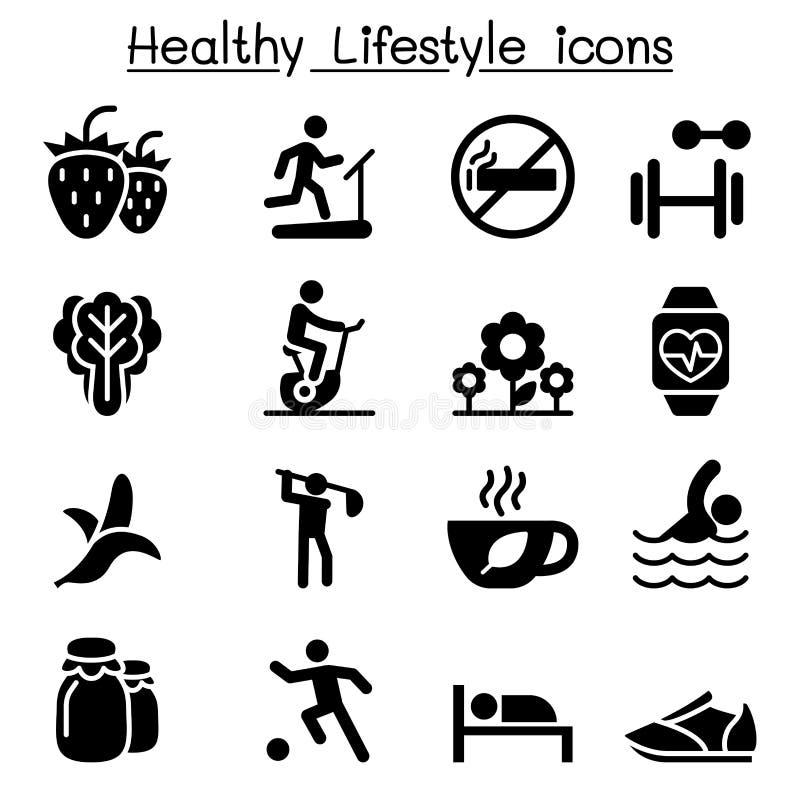 Ícones saudáveis & do exercício ajustados ilustração royalty free