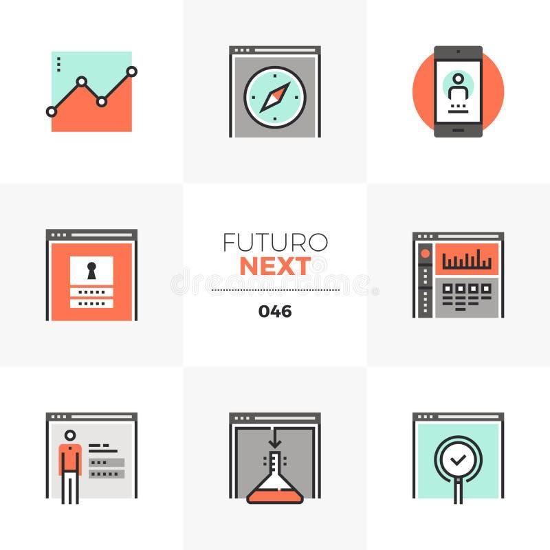 Ícones seguintes de Futuro da administração da Web ilustração royalty free