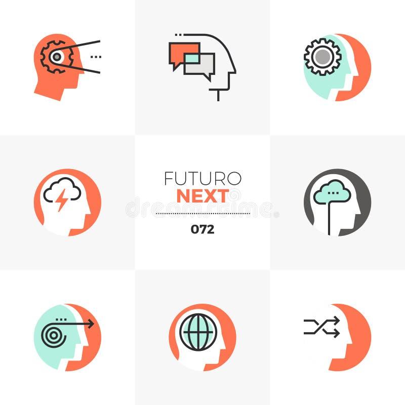 Ícones seguintes de Futuro da inteligência emocional ilustração do vetor