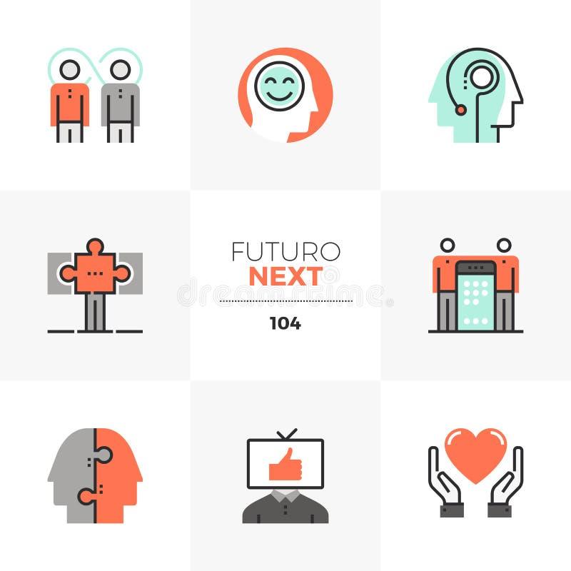 Ícones seguintes de Futuro da sinergia humana ilustração stock