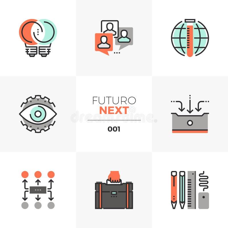 Ícones seguintes de Futuro do desenvolvimento de negócios ilustração royalty free