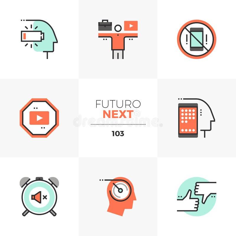 Ícones seguintes de Futuro do equilíbrio da vida do trabalho ilustração stock
