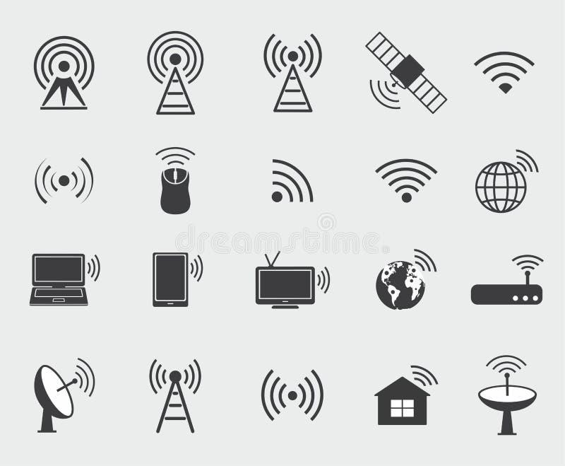 Ícones sem fio pretos Ajuste ícones para o acesso e o ra do controle do wifi ilustração do vetor