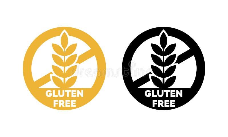 Ícones sem glúten do cereal do trigo do vetor da etiqueta ilustração do vetor