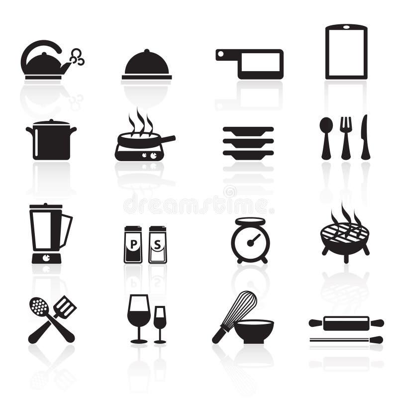 Ícones set01 da cozinha fotos de stock royalty free