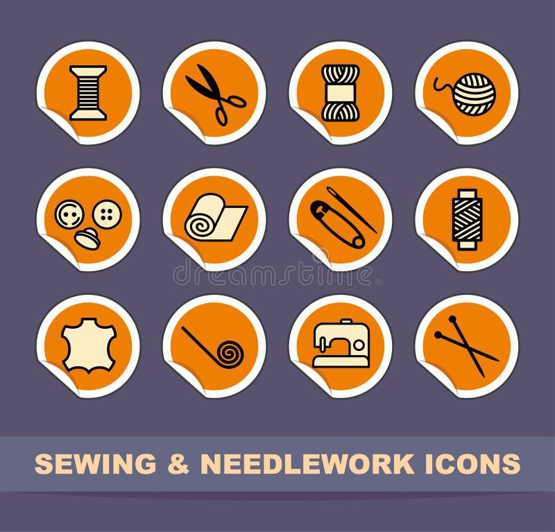 Ícones Sewing e de needlework ilustração stock