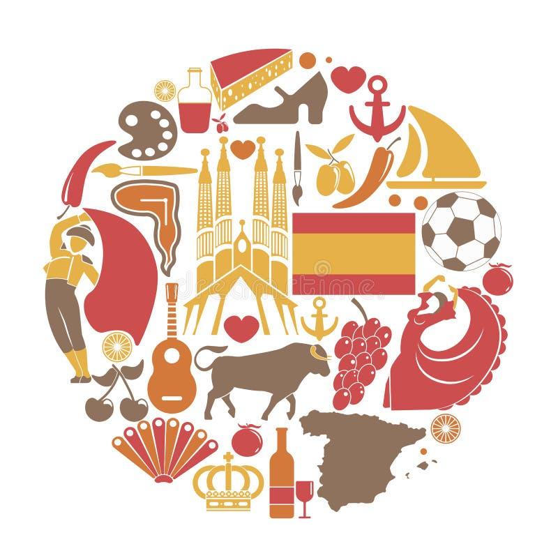 Ícones sightseeing do curso da Espanha e cartaz espanhol dos marcos do vetor ilustração royalty free