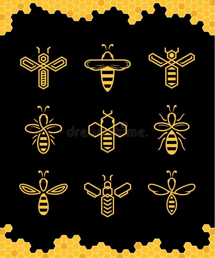 Ícones simples abstratos da abelha do vetor ilustração stock