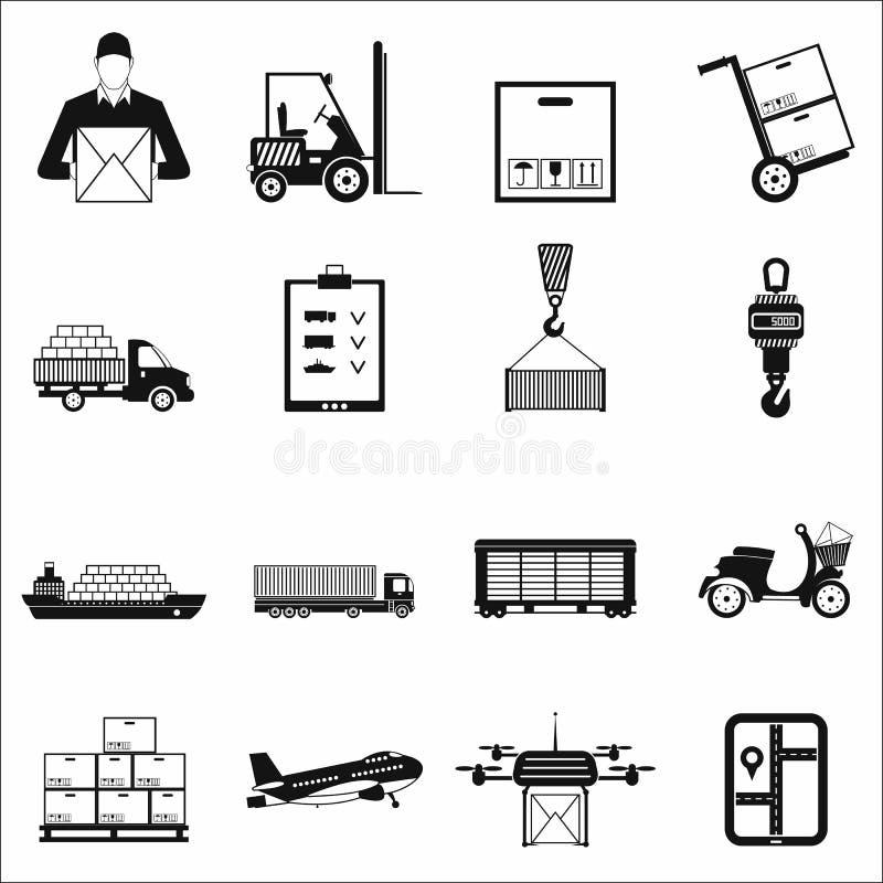 Ícones simples da logística ilustração royalty free