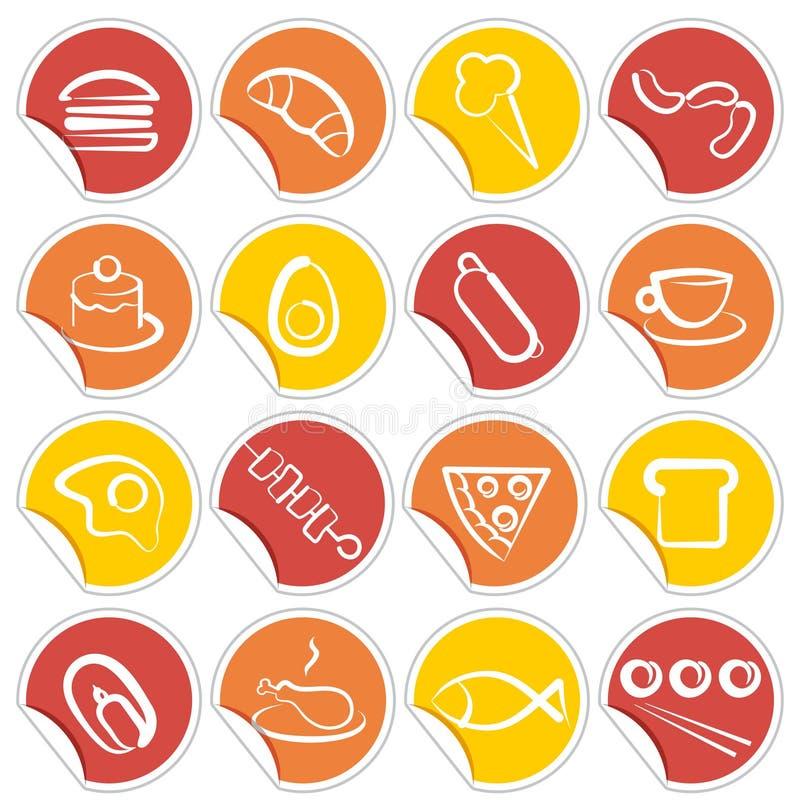 Ícones simples do alimento em etiquetas ilustração do vetor